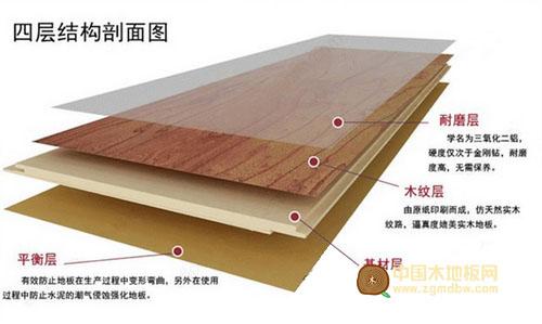 强化复合地板结构剖面图